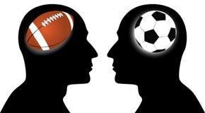 Football vs soccer Royalty Free Stock Image
