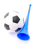 Football and Vuvuzela horn Royalty Free Stock Photography