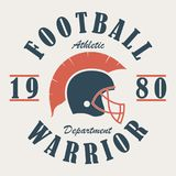 Football Warrior - t-shirt graphics with helmet. Print for sportswear, apparel, clothes. Sport logo. Vector. Royalty Free Stock Photography