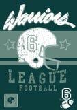 Football warriors league. Vector illustration of a football league print and embroidery Stock Photo