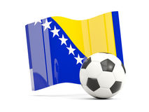 Football with waving flag of bosnia and herzegovina isolated  Royalty Free Stock Photography