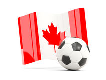 Football with waving flag of canada isolated on white Royalty Free Stock Photos