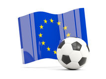 Football with waving flag of european union isolated on white Stock Photos