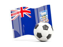 Football with waving flag of falkland islands isolated on white. 3D illustration Royalty Free Stock Photos