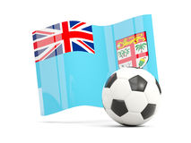 Football with waving flag of fiji isolated on white Stock Photos