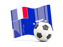 Football with waving flag of french southern territories isolate Royalty Free Stock Images