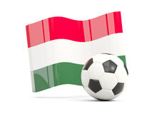 Football with waving flag of hungary isolated on white Royalty Free Stock Photo