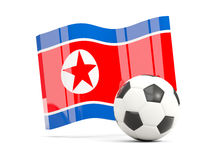 Football with waving flag of korea north isolated on white Stock Image