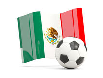 Football with waving flag of mexico isolated on white Royalty Free Stock Images