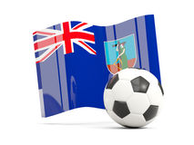 Football with waving flag of montserrat isolated on white Stock Photo