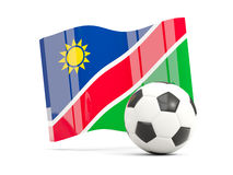 Football with waving flag of namibia isolated on white Stock Photo