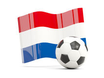Football with waving flag of netherlands isolated on white Stock Images
