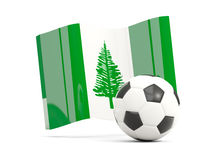 Football with waving flag of norfolk island isolated on white Stock Photos