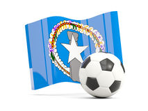 Football with waving flag of northern mariana islands isolated  Stock Photos
