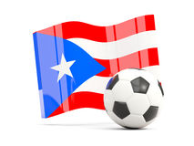 Football with waving flag of puerto rico isolated on white Royalty Free Stock Photo