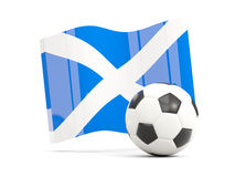 Football with waving flag of scotland isolated on white Royalty Free Stock Photos