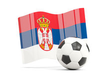 Football with waving flag of serbia isolated on white Stock Images