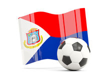 Football with waving flag of sint maarten isolated on white Stock Photos