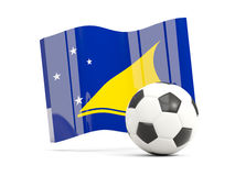 Football with waving flag of tokelau isolated on white Stock Images