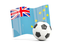 Football with waving flag of tuvalu isolated on white Stock Photo