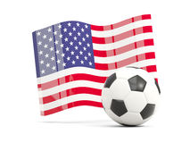 Football with waving flag of united states of america isolated  Royalty Free Stock Photo