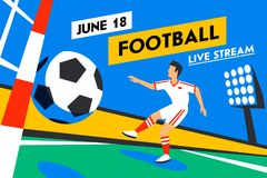 Football web banner. Live stream game. Soccer forward. Football player with football ball. Penalty. Soccer player in. Russia. Full color illustration in flat Royalty Free Stock Photo