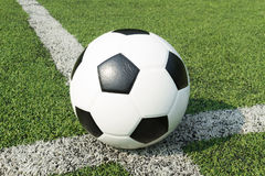Football on white line Royalty Free Stock Images