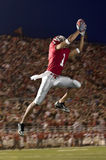 Football Wide Receiver Making a Leaping Catch stock photos