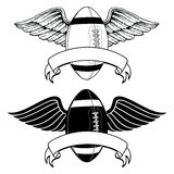 Football With Wings Memorial. Is an illustration of two versions of an American football with wings. Can be used for football memorials or certain mascot Royalty Free Stock Image