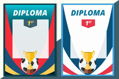 Football winner diploma in A4 size design. Vector soccer certifi stock illustration