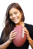 Football woman. Smiling woman holding american football. Isolated on white background Stock Images