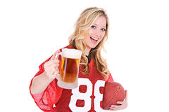 Football: Woman Holding Up Beer Stock Photo