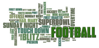 Football Word Cloud. American Football Word Cloud on a white background Royalty Free Stock Photo