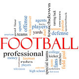 Football Word Cloud Concept. With great terms such as coin toss, touchdown, season, quarterback, fans, games, draft and more Stock Photo
