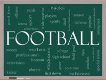 Football Word Cloud Concept on a Blackboard. Football Word Cloud Concept on a Chalkboard with great terms such as touchdown, season, quarterback, fans, games Stock Photo