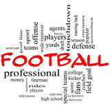 Football Word Cloud Concept in red caps. With great terms such as yards, touchdown, season, quarterback, fans, games, draft and more Royalty Free Stock Photo