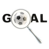 Football word goal under the magnifier Stock Photography
