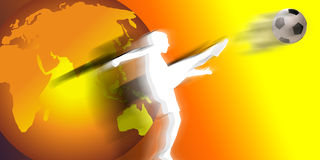 Football world. An image showing a footballer kicking a football into the target area and scoring a goal. All is shown against a colour tinted background of Royalty Free Stock Photos