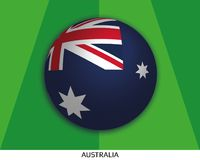Football World championship with Australia flag made round as soccer ball on a playing grass. Lawn royalty free illustration