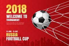 Football 2018 world championship background of soccer sport desi. Gn. Use for web banner, ads, poster, brochure, flyer, cover, cards, invitations royalty free illustration