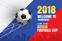 Football 2018 world championship background of soccer sport desi. Gn. Use for web banner, ads, poster, brochure, flyer, cover, cards, invitations Stock Images