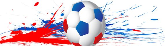 Football 2018 world championship with ball and Russia flag colors. Splash of colors. Vector. Illustration Royalty Free Stock Photos