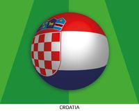Football World championship with Croatia flag made round as soccer ball on a playing grass. Lawn vector illustration