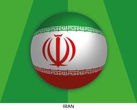 Football World championship with flag of Iran made round as soccer ball on a playing grass. Lawn royalty free illustration