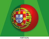 Football World championship with flag of Portugal made round as soccer ball on a playing grass. Lawn stock illustration