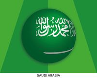 Football World championship with flag of Saudi Arabia made round as soccer ball on a playing grass. Lawn vector illustration