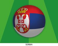 Football World championship with flag of Serbia made round as soccer ball on a playing grass. Lawn stock illustration