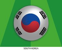 Football World championship with flag of South Korea made round as soccer ball on a playing grass. Lawn stock illustration
