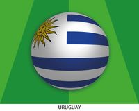 Football World championship with flag of Uruguay made round as soccer ball on a playing grass. Lawn stock illustration