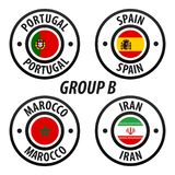 Football World Championship Group B. Soccer World Tournament 2018 in Russia. Vector flag Collection Royalty Free Stock Images
